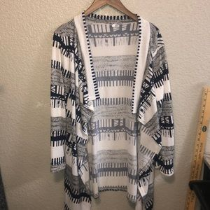 Navy blue white and grey cardigan